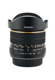 Objetiva Rokinon Ultra Grande Angular 8mm F3.5 AS IF UMC Diagonal Fisheye para Canon