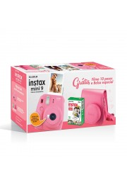 Câmera Instantânea Fujifilm Instax Mini 9 - Rosa Flamingo + Estojo + Filme