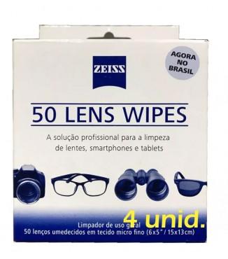 Pack Zeiss com 200 Lenços de Limpeza Umedecidos